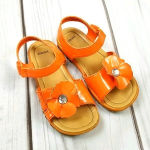 Gymboree toddler girls 10 orange flower sandals